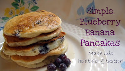 Blueberry Banana Pancakes with Instant Pancake Mix