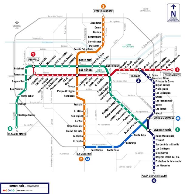 Pontos turísticos no metrô de Santiago