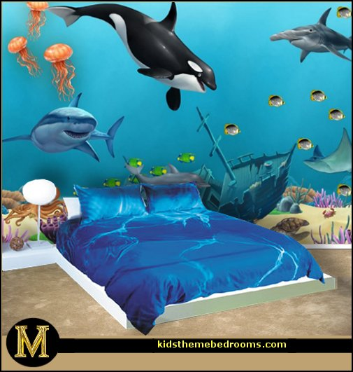 Ocean Sea Creatures Mural  underwater bedroom ideas - under the sea theme bedrooms - mermaid theme bedrooms - sea life bedrooms - Little mermaid princess Ariel - Sponge Bob theme bedrooms - mermaid bedding - Disney's little mermaid - clamshell bed - mermaid murals - mermaid wall decal stickers -