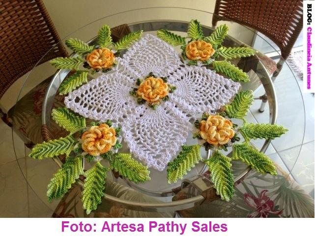 Centro de mesa crochet lada croch 234 s e pinturas - Centro de mesa a crochet ovalado ...