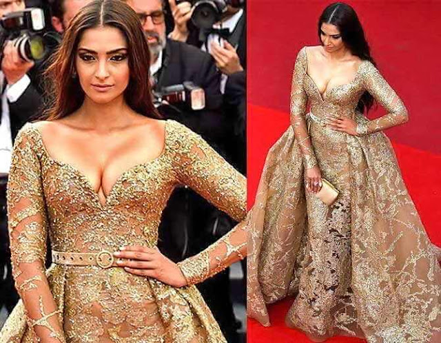 Amazing | Deep neck gown with 42-carat diamond worn by Sonam on red carpet