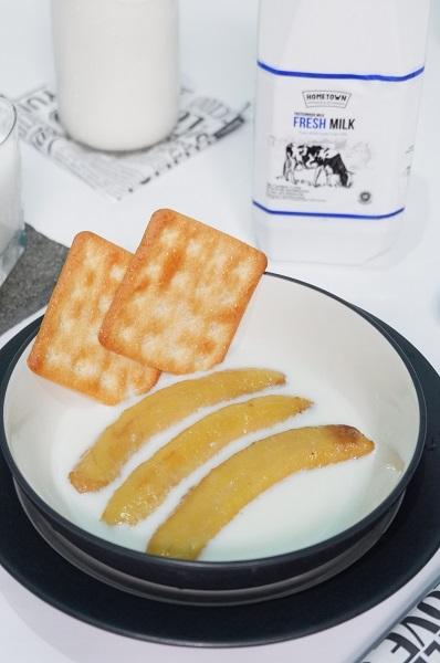 Pisang panggang kuah susu