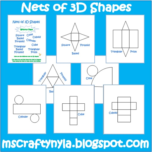Nyla 39 s crafty teaching free 3d shape nets for Geometry net templates