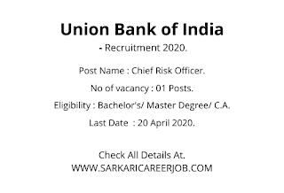 Union Bank of India Vacancy 2020 Apply Online | Officer Post UBI Latest Govt Vacancy.