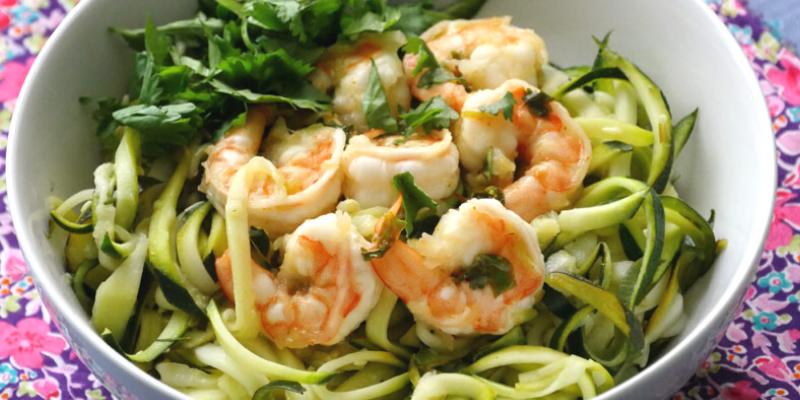 Lime marinated  shrimp and zucchini spaghetti