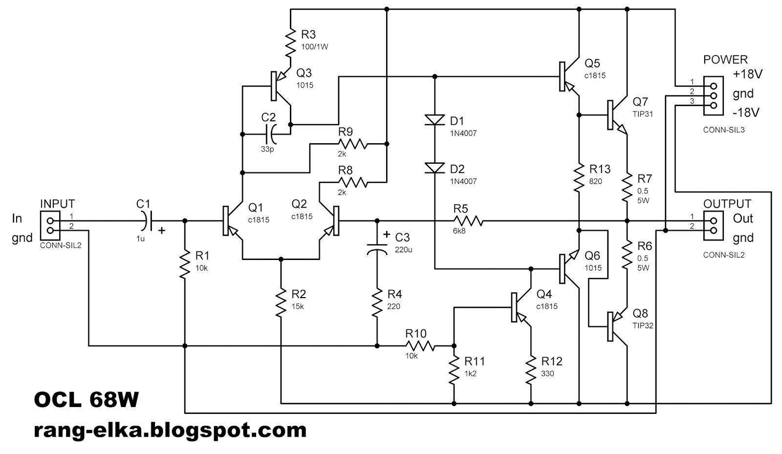 Merakit Rangkaian Elektronika 04 Rangkaian Ocl 68w