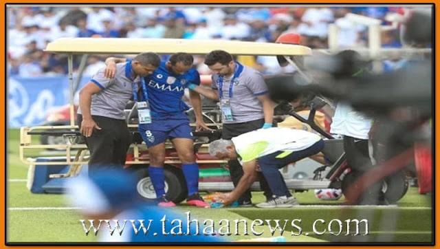 اصابة اللاعب عبدالله عطيف بعد تدخل عنيف فى مباراة أهلى دبى