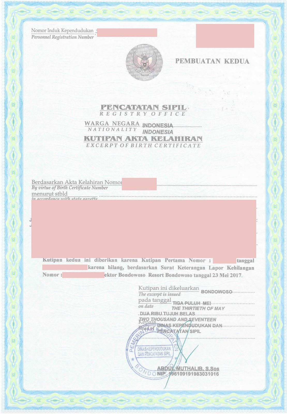Akte kelahiran untuk pengajuan visa mvv spouse terbaru ngampung kutipan akte kelahiran aiddatafo Choice Image