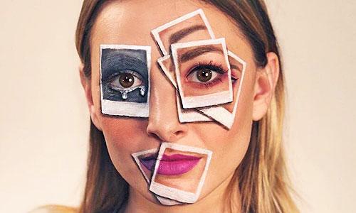 Chica con maquillaje de fantasía de fotos sobre el rostro