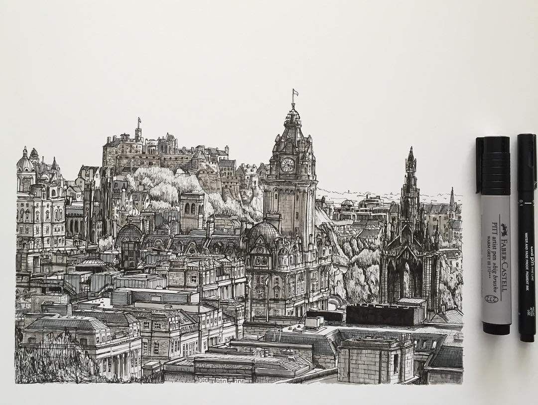 01-Edinburgh-Scotland-Phoebe-Atkey-Urban-Sketcher-Architectural-Building-Drawings-www-designstack-co