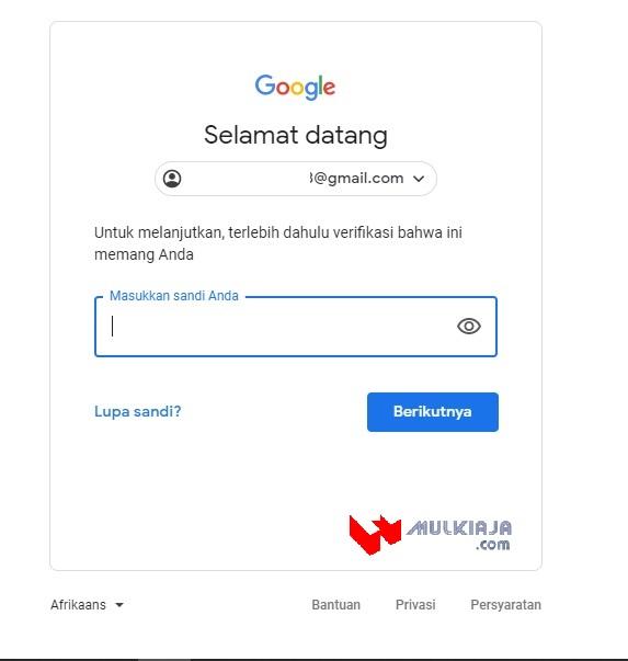 Cara buat blog, masukkan password gmail