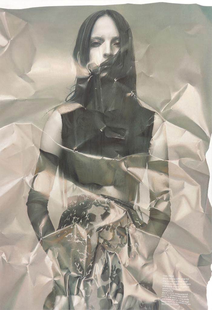 85cd6d07c Photorealistic paintings of crumpled pages by Italian artist Stefania  Fersini. Based on actual pages from fashion magazines, she represents the  glossy pages ...