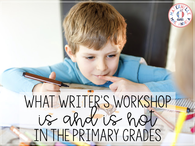"This is a title graphic of a young boy drawing and writing with the text, ""What Writer's Workshop Is and Is Not in the Primary Grades"" on it."