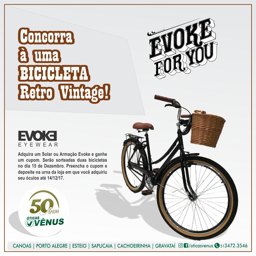 Adquira seu óculos de sol ou armação  EVOKE nas Óticas Vênus e concorra á  uma bicicleta lindíssima! 5e11921ca2