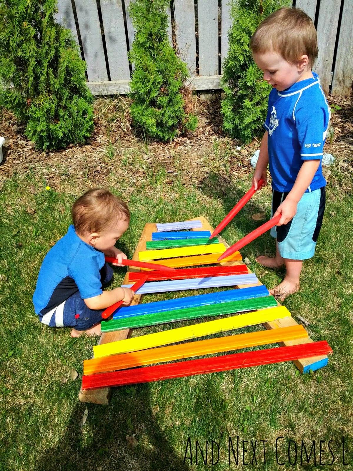 Homemade Rainbow Xylophone
