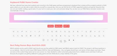 Pubg Name Generator Tool Script