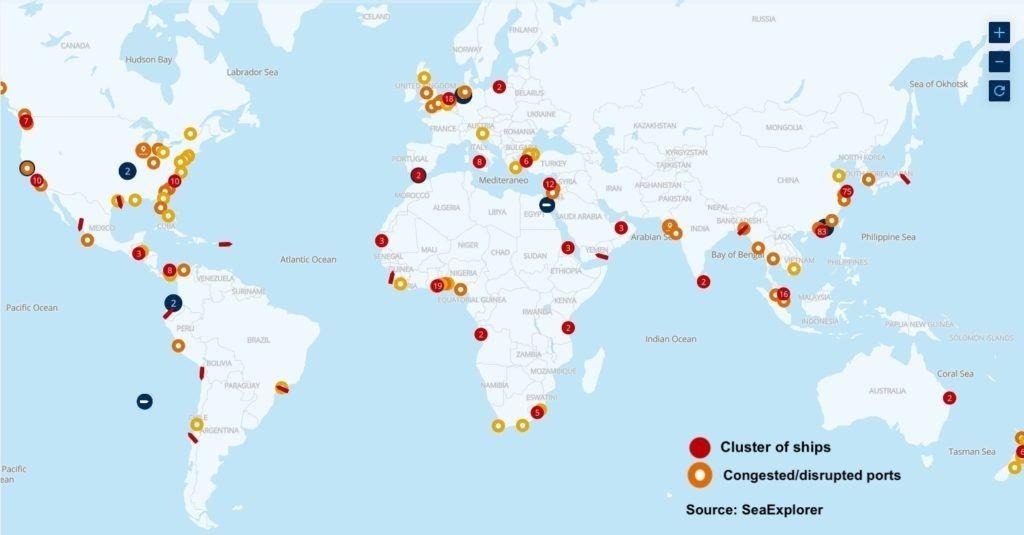 Mais de 300 porta-contêineres aguardam abertura de berço em todo o mundo
