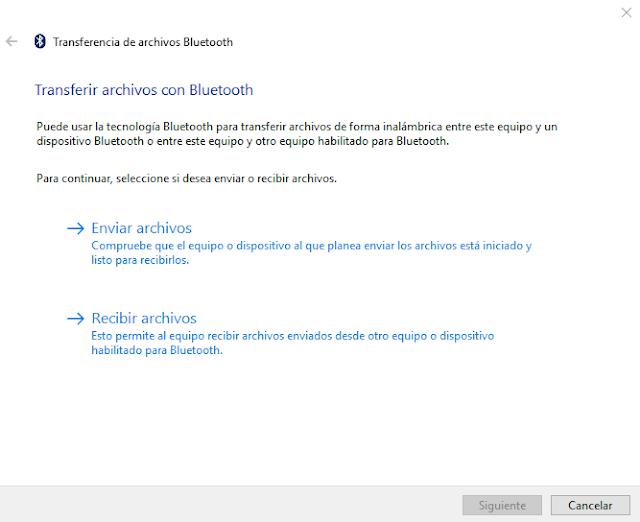 No puedo enviar/recibir archivos por Bluetooth desde la PC