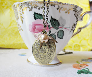 image jane eyre locket necklace rosaline pink peach bird swallow brass two cheeky monkeys literature