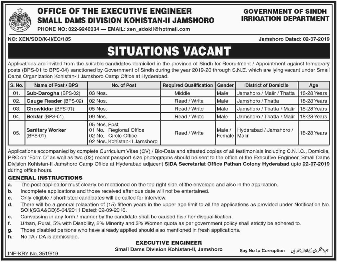 Sindh Irrigation Department Jobs 2019 Small Dams Division