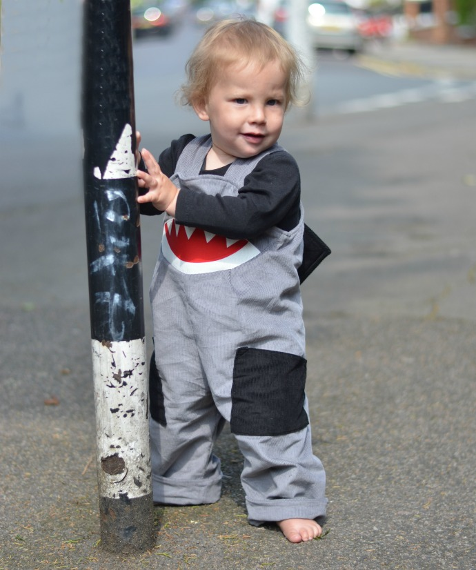 wild things dungarees, shark dungarees, 15 months old, Loubilou
