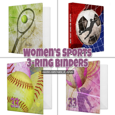 A custom women's sports 3-ring binders collection featuring volleyball, soccer, tennis, softball and basketball themed designs