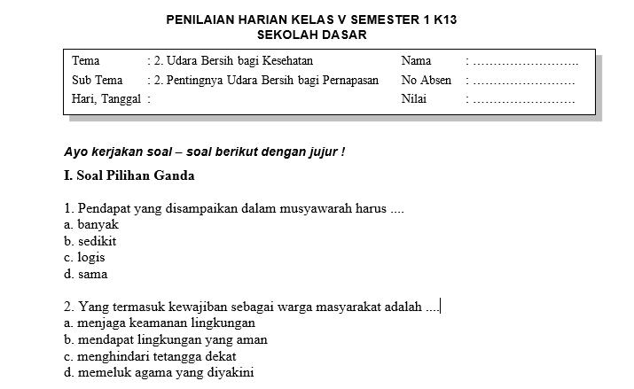 Soal Penilaian Harian Kelas 5 Tema 2 Subtema 2 Dan Kunci Jawaban Sekolahdasar Net