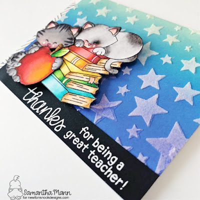 Thanks for Being a Great Teacher Card by Samantha Mann for Newton's Nook Designs, Teacher Card, Thank You Card, Teacher Appreciation, Card Making, Handmade Cards, #newtonsnook #newtonsnookdesigns #distressinks #distressoxide #teacherappreciation #thankyoucard