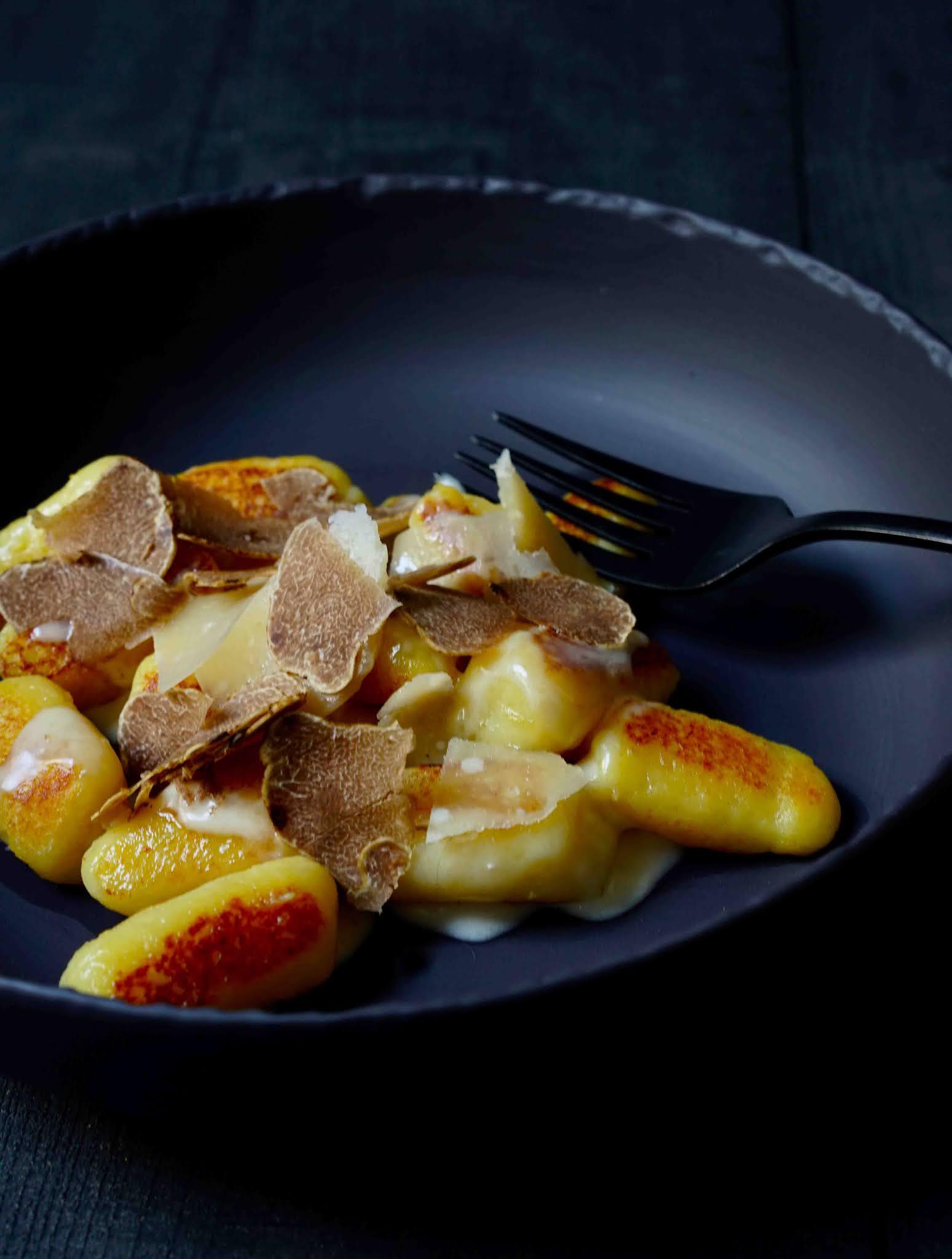 gnocchis , recette facile , truffe blanche