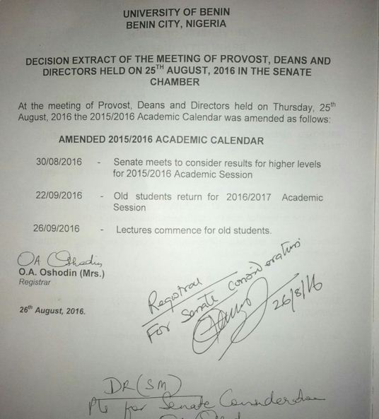 Uniben To Resume New Academic Session Without 100l