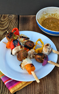Falafel & Halloumi Kebabs with Spiced Peanut Butter Marinade