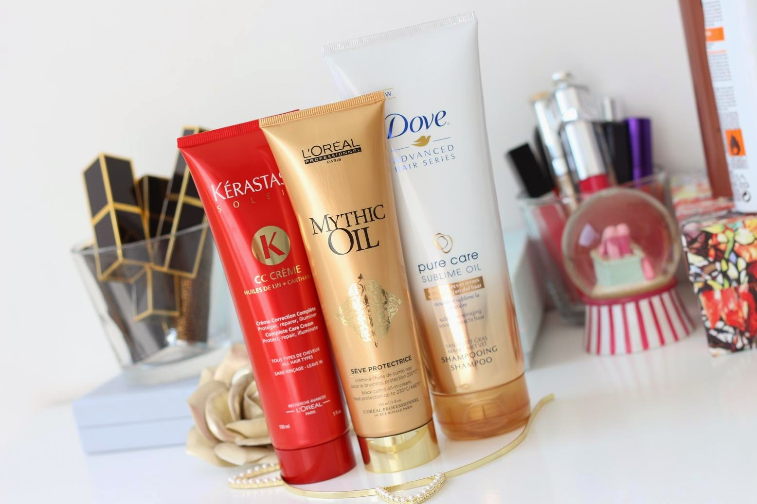 Kérastase CC Crème - L'Oréal Professionnel Mythic Oil - Dove Pure Care Sublime Oil