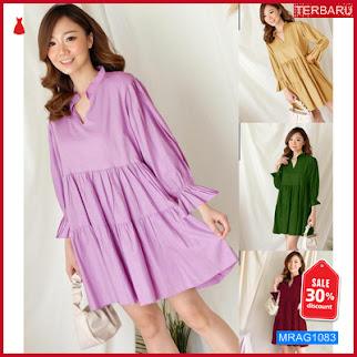 MRAG1083 SET WANITA DRESS RUFFLE CASUAL STYLE MA JUMBO BIG SIZE DRESS BARU 2021