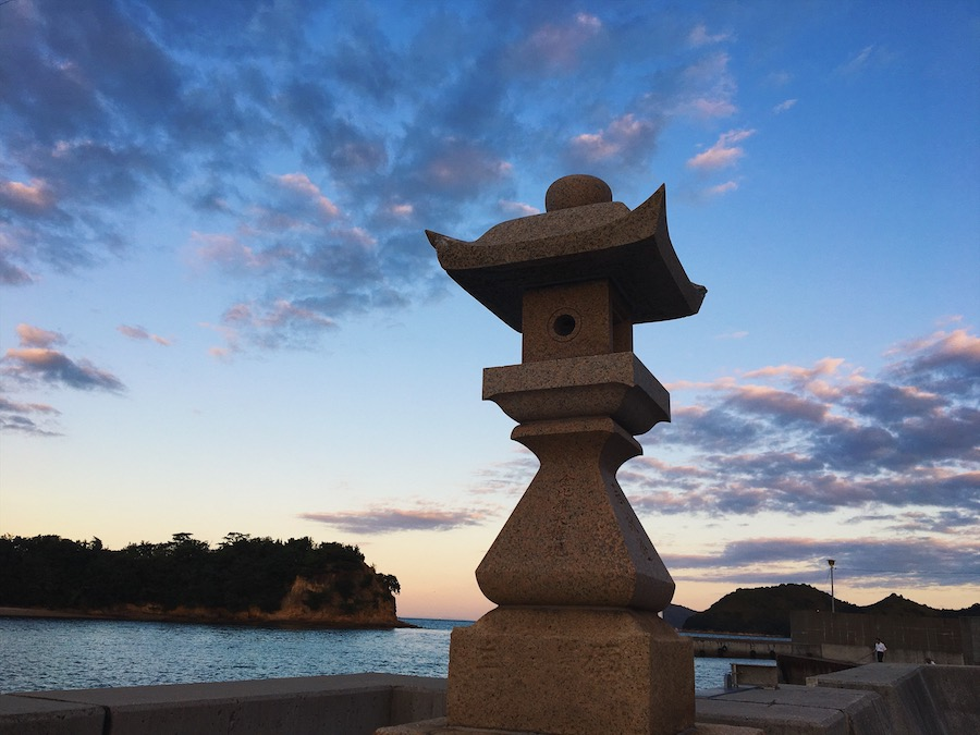 A mysterious sculpture lining Honmura port in Naoshima Island Japan