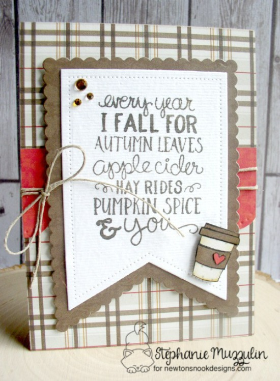 Fall coffee card by Stephanie Muzzulin | Fall-ing For You Stamp set by Newton's Nook Designs #newtonsnook #pumpkinspice #coffee