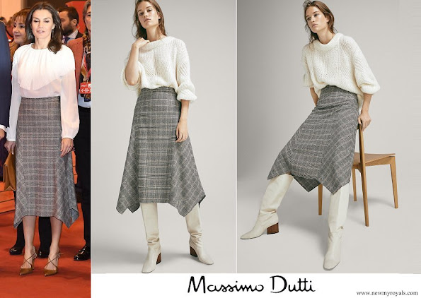 Queen Letizia wore MASSIMO DUTTI Pointed check wool skirt