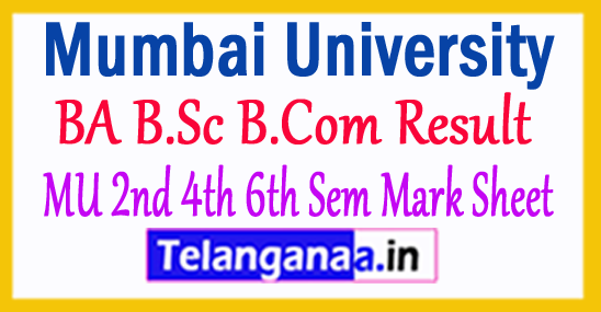 Mumbai University BA B.Sc B.Com Result 2017 MU 2nd 4th 6th Sem Mark Sheet
