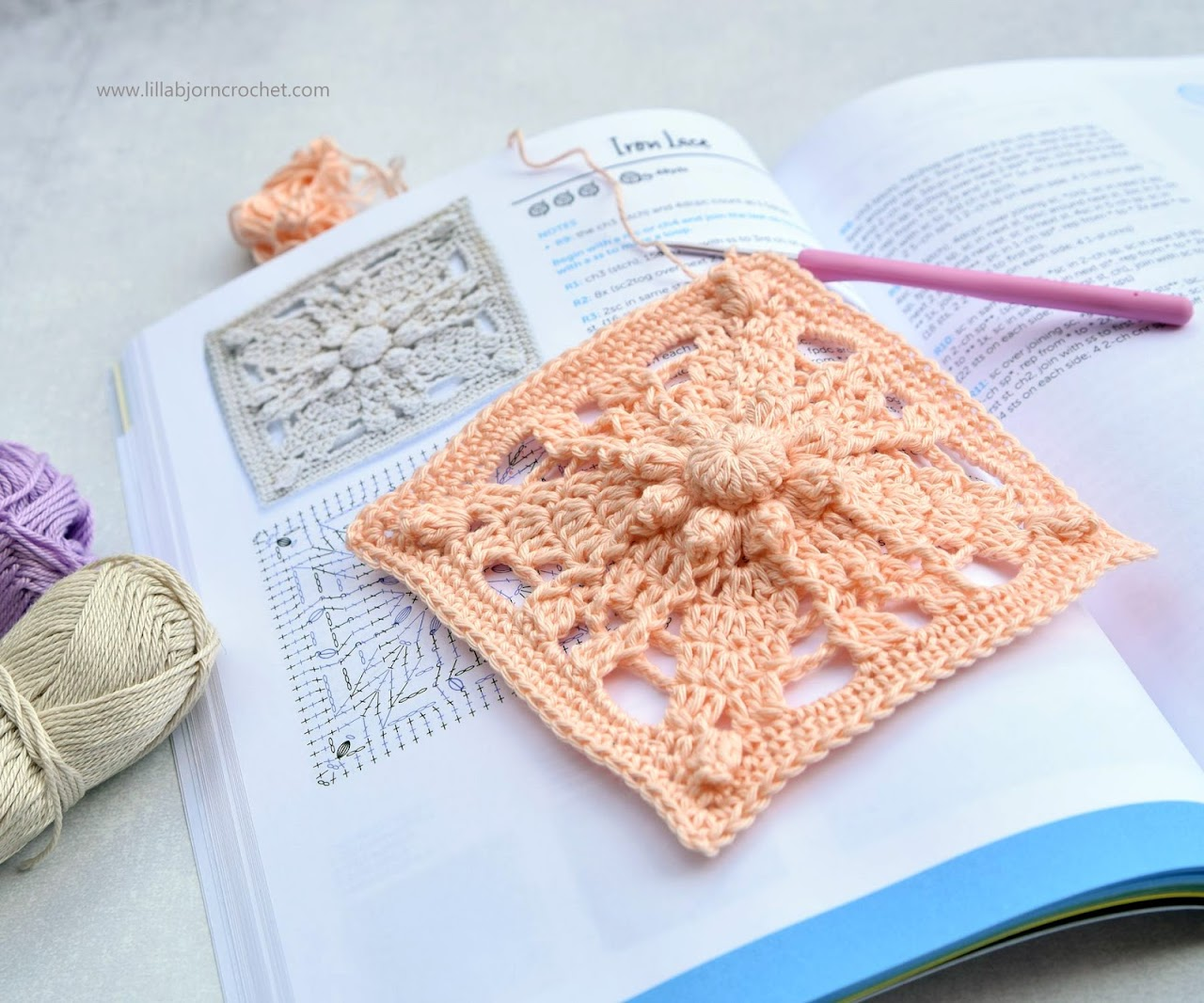 Granny Square Flair book by Shelley Husband of @Spincushions. Reviewed by www.lillabjorncrochet.com