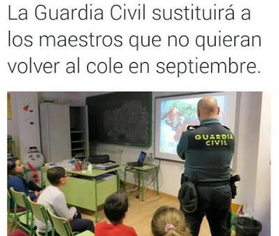 Guardia Civil sustituirá maestros que no quieran volver al cole en septiembre