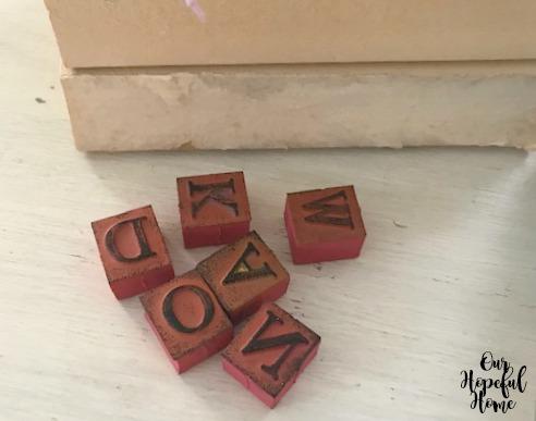 rubber alphabet stamps DIY crafts
