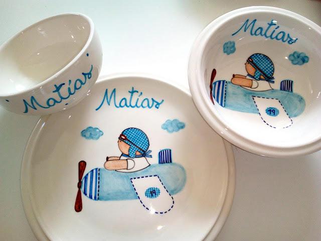 Vajillas infantiles artesanales , pintadas a mano y personalizadas con nombre