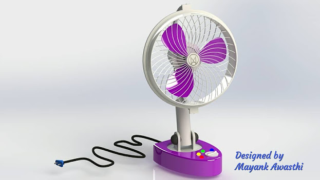 Design of oscillating Table Fan and its Working Animation simulation