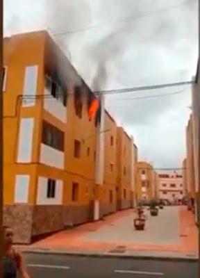 Un herido grave en incendio de vivienda en casa baratas de Barrial, Gáldar
