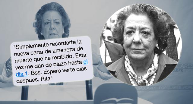 El último SMS de Rita Barberá asegura que estaba siendo amenazada de muerte