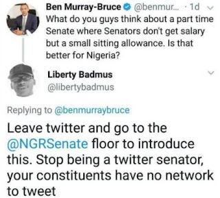 Between a Twitter User and Senator Ben Bruce