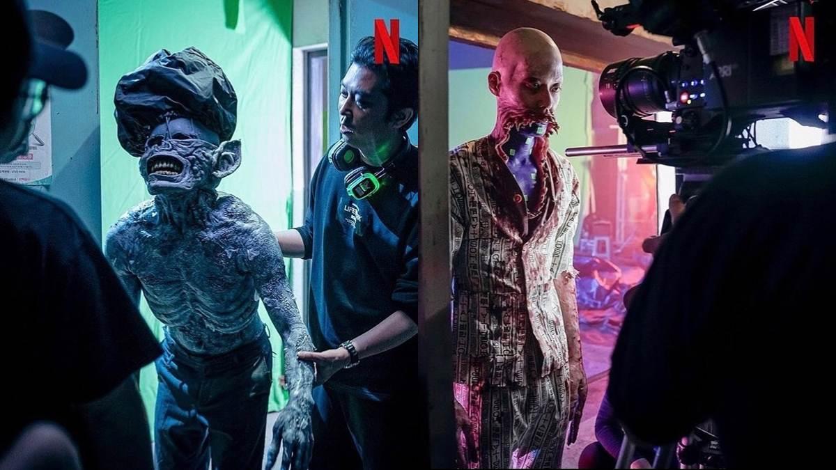 monster buta dan monster lidah saat syuting