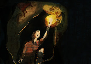 boy and his god in a cave hold a torch up to view cave paintings