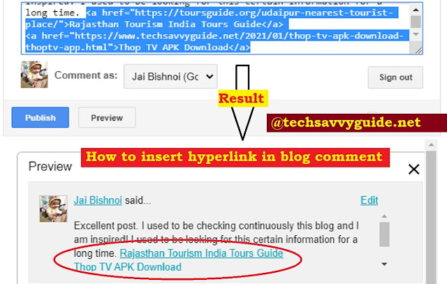 How to Insert Hyperlink in Blog Comment with Pictures