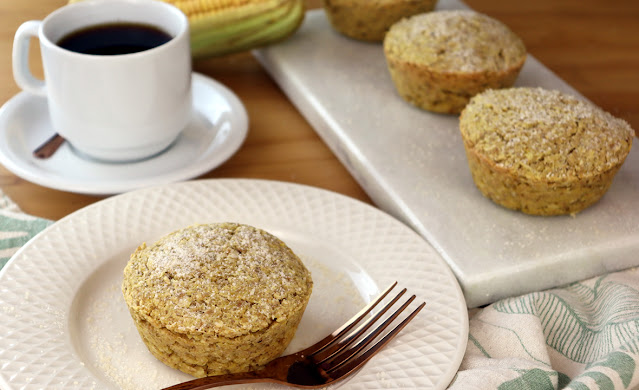 Bolo de milho com quinoa sem óleo, fermento e integral, vegano