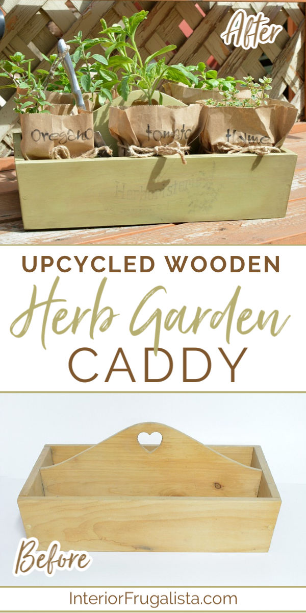 Wooden Herb Garden Caddy Before and After